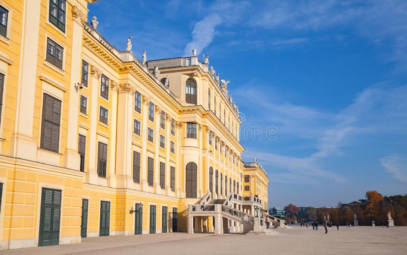 Vienna, Austria. Schonbrunn Palace. Vienna, Austria - November 3, 2015: Schonbrunn Palace. It is a former imperial summer residence of successive Habsburg royalty free stock images
