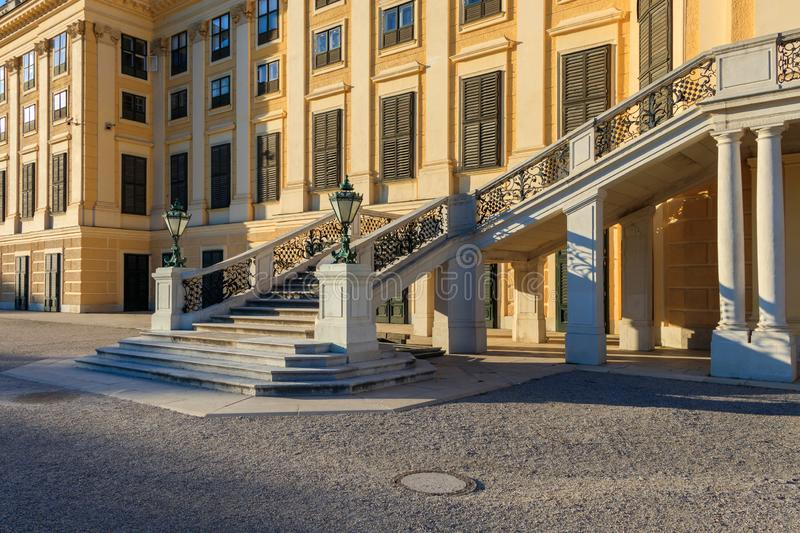 Decorative stairs in Schoenbrunn Palace Park, Vienna, Austria. Vienna, Austria - September 3, 2019: Decorative stairs in Schoenbrunn Palace Park, Vienna, Austria stock photography