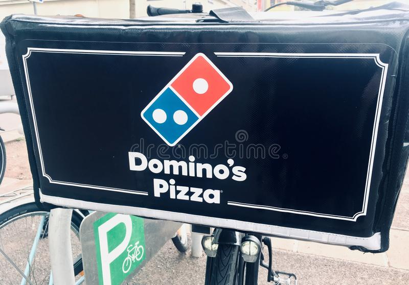 Vienna Austria September.2 2019, Domino`s, is an American multinational pizza restaurant chain founded in 1960, Dominos Pizza royalty free stock images