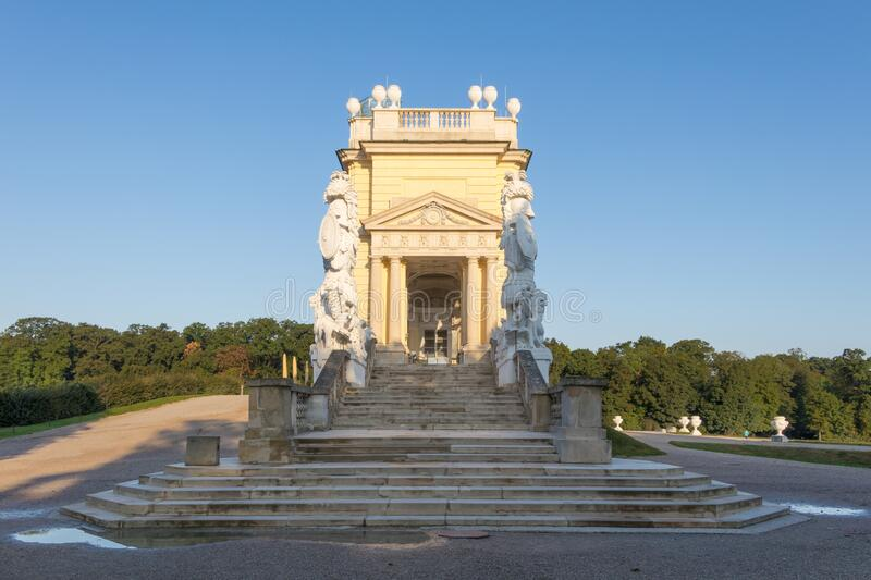 The Gloriette in Schonbrunn palace building in Vienna, Austria. Vienna, Austria - September 3, 2019: The Gloriette in Schonbrunn palace building in Vienna royalty free stock images