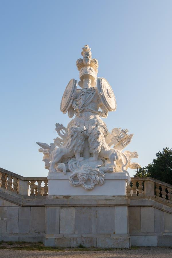 Statue in Schonbrunn Palace - Gloriette in Vienna, Austria. Vienna, Austria - September 3, 2019: Statue in Schonbrunn Palace - Gloriette in Vienna, Austria stock image