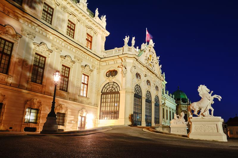 Upper Belvedere Palace at night, illuminated after sunset - side view royalty free stock image