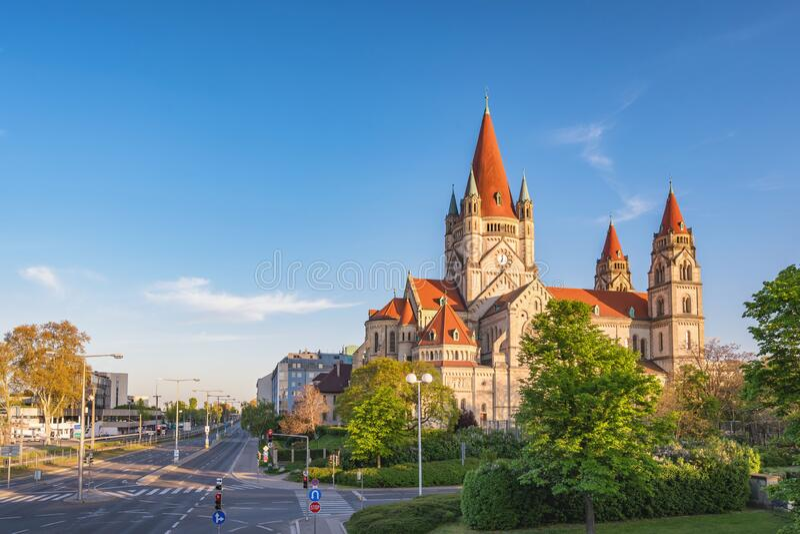 Vienna Austria at St. Francis of Assisi Church royalty free stock photo