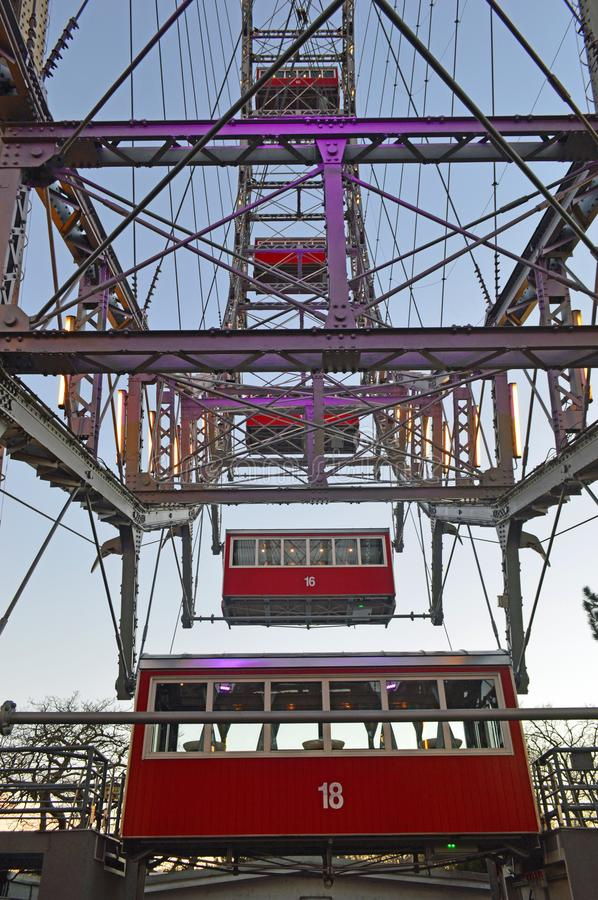 Vienna Austria, Wiener Riesenrad Big Wheel. The Riesenrad, seen from the outside of the Prater The Wiener Riesenrad German for Vienna Giant Wheel[1], or royalty free stock photography