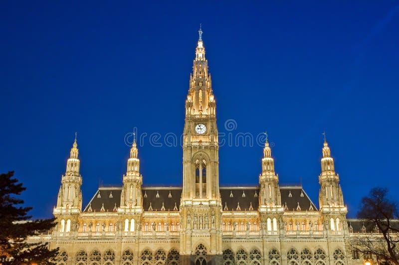 Vienna City Hall. Vienna, Austria - The city hall by night royalty free stock photo