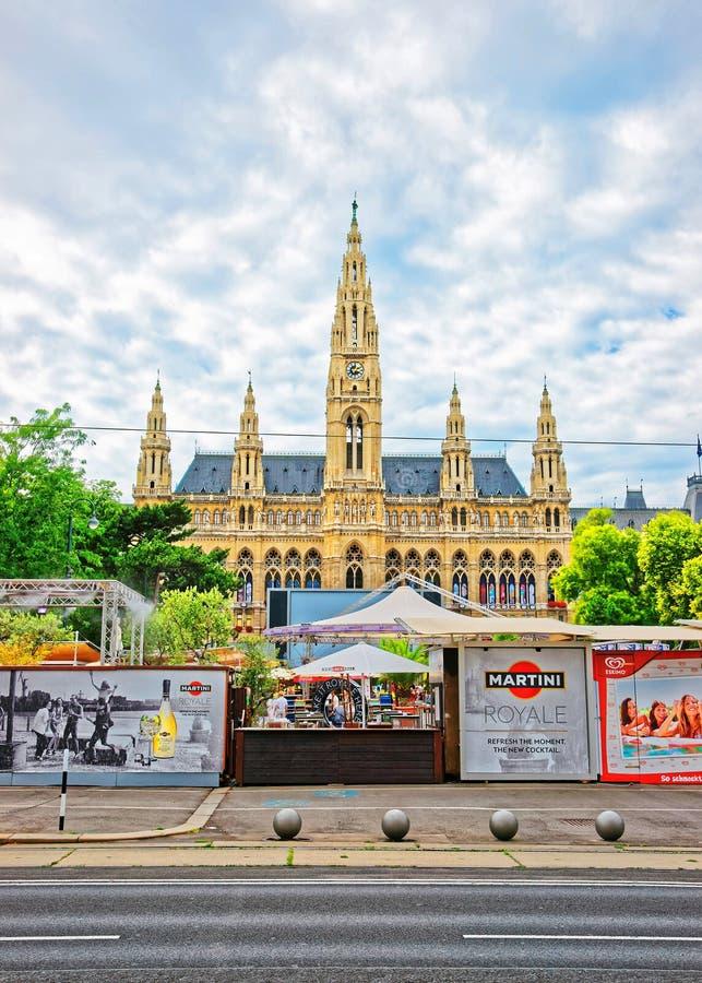 Vienna City Hall in old town of Vienna. Vienna, Austria - August 21, 2012: Wiener Rathaus or Vienna City Hall in the old town of Vienna, Austria stock photography