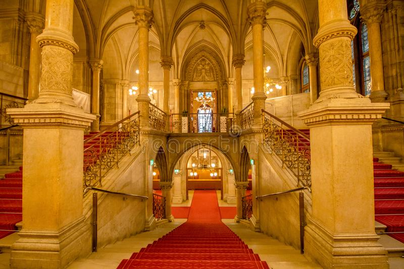 Festivity Stairs in the Vienna City Hall, Austria. The Vienna City Hall on Rathausplatz in the 1st district of Vienna, Inner City, until 1960 distinguished from royalty free stock photos