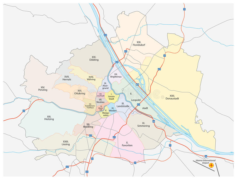 Vienna city map. Map of vienna with all districts, highways, expressways and major roads vector illustration