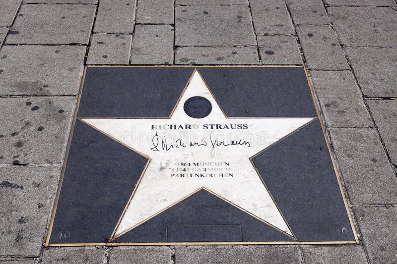 Vienna - city of music. Around opera building in Vienna there is walk of fame - stars at the sidewalk with a names of famous composers who lived and worked in stock photo
