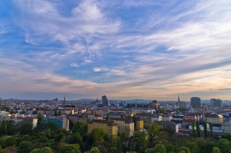 Vienna cityscape at sunset, many different ages, styles and colors. Austria royalty free stock photo