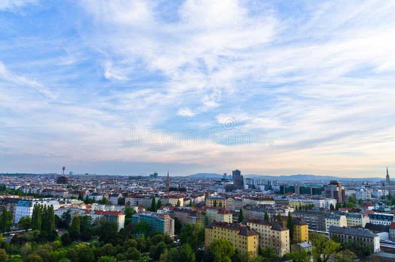 Vienna cityscape at sunset, mix of different ages, styles and colors. Austria stock images
