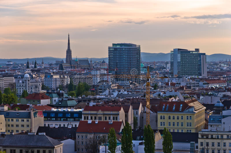 Vienna cityscape at sunset, mix of different ages, styles and colors. Austria royalty free stock photo