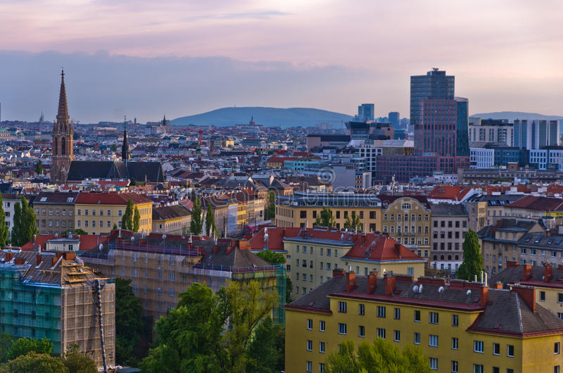 Vienna cityscape at sunset, mix of different ages, styles and colors. Austria stock photography