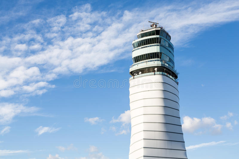 Vienna control tower. View of the new modern air traffic control tower of Vienna in Austria stock photos