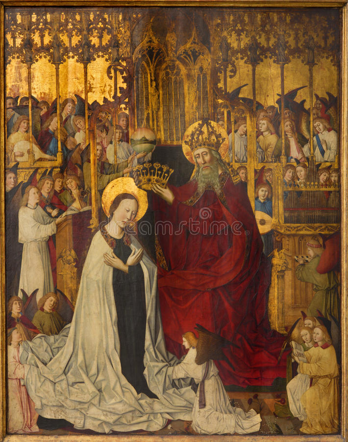 Vienna - Coronation of holy Mary from year 1350 stock photo