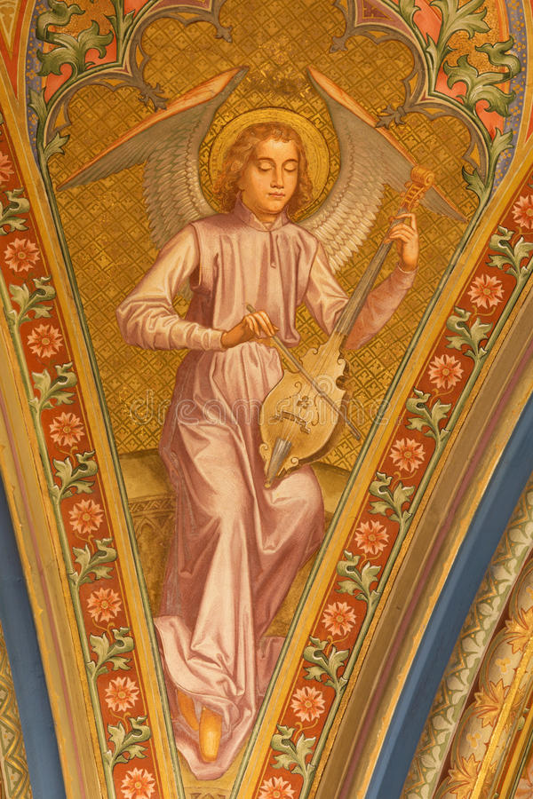 Vienna - Fresco of angel with the music instrument from vestibule of monastery church in Klosterneuburg royalty free stock photo
