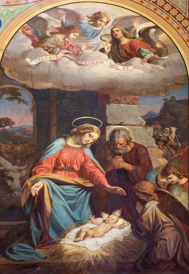 Free Vienna - Fresco Of Nativity Scene By Karl Von Blaas From 19. Cent. In Nave Of Altlerchenfelder Church Stock Photo - 32628200