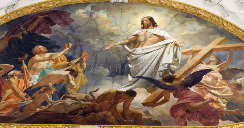 Vienna - Fresco of Resurrected Jesus in heaven from ceiling of Schottenkirche church royalty free stock photography