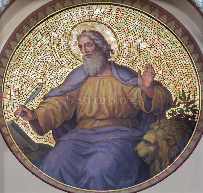 Vienna - Fresco of st. Mark the Evangelist. Fresco of st. Mark the Evangelist by Josef Kastner from years 1906 - 1911 in Carmelites church in Dobling royalty free stock photos