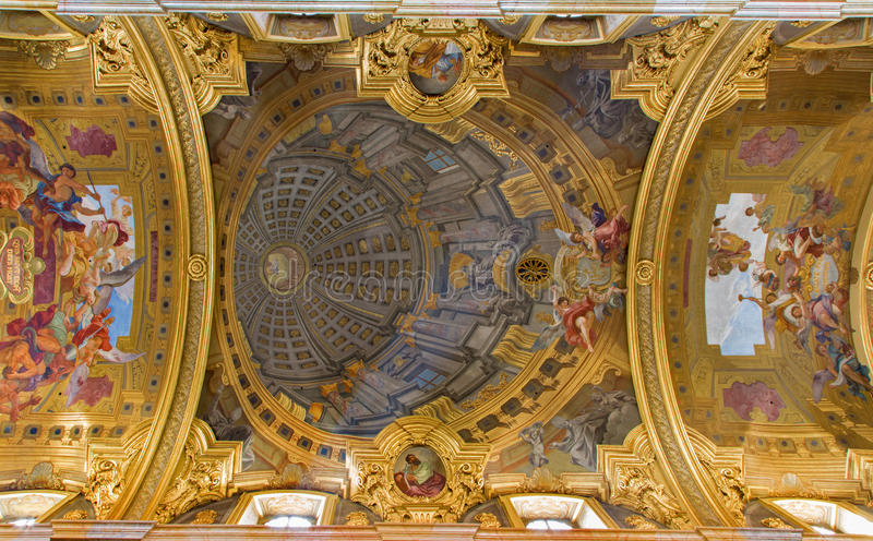 Vienna - Frescos from ceiling of nave in baroque Jesuits church. By Andrea Pozzo in 1703, the remarkable trompe l'oeil dome on July 3, 2013 Vienna royalty free stock photo