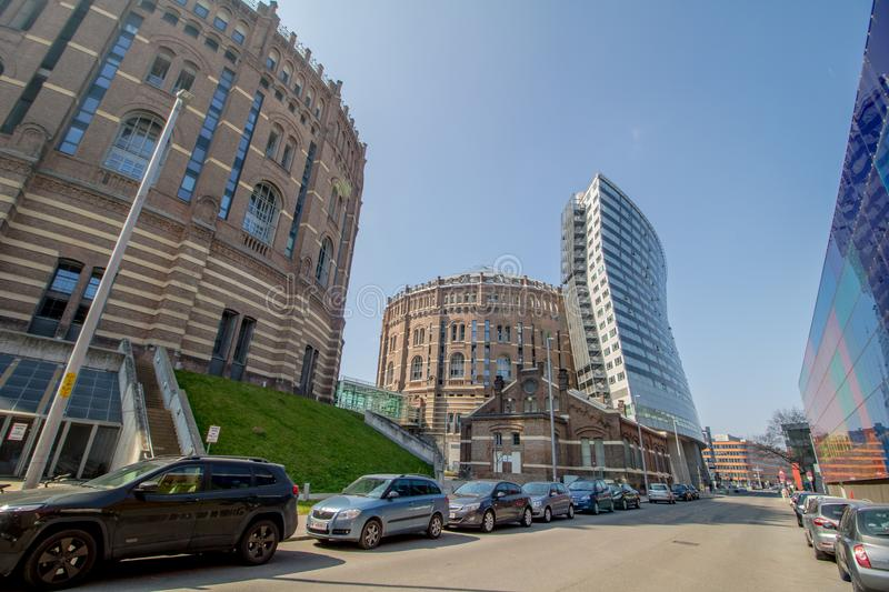 The Vienna Gasometer on sunny day in Vienna, Austria. The gasometers in Vienna-Simmering are four former gas tanks preserved in the facade. They have been royalty free stock images