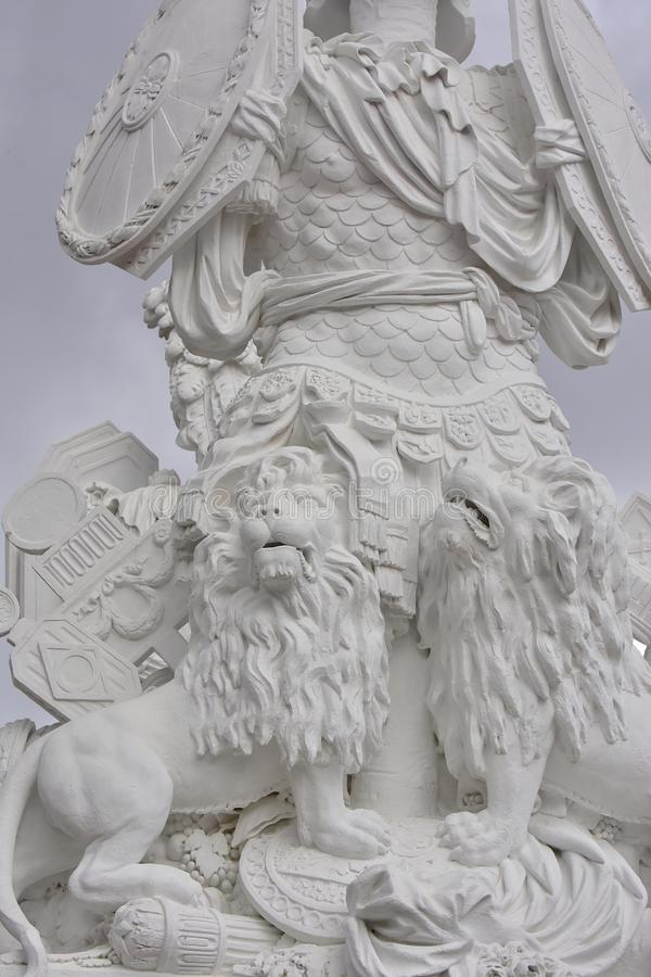 Vienna - Gloriette in Schonbrunn palace and statue of guardian, detail stock photos