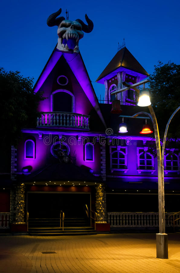 Vienna, horror house in Prater. VIENNA, AUSTRIA - MAY 18, 2017: horror house attraction in Prater, public amusement park in Vienna Austria on may 18, 2017 royalty free stock photos