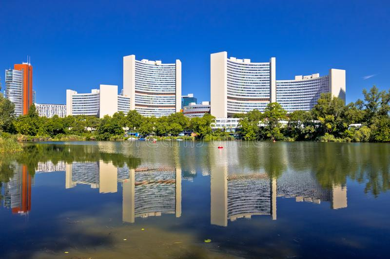 Vienna international center Kaiserwasser lake reflection view stock image