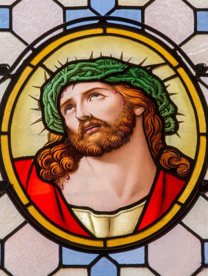 Vienna - Jesus Christ con la corona delle spine dal vetro nella chiesa delle Carmelitane in Dobling immagine stock libera da diritti