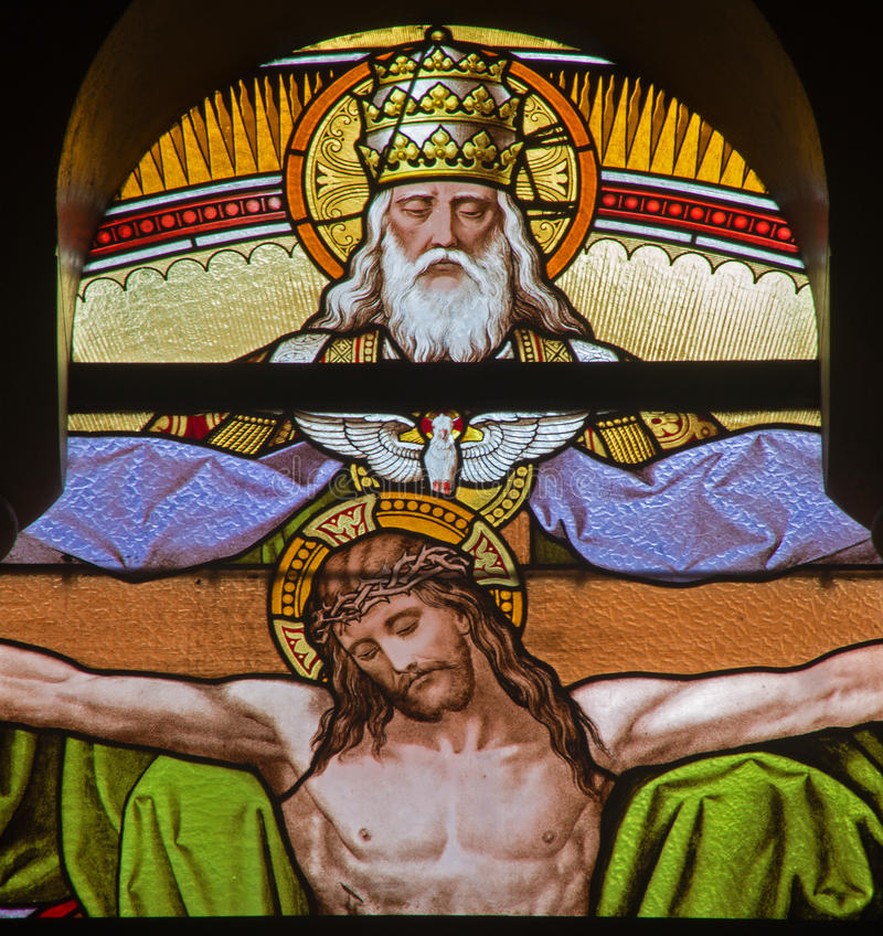 Free Vienna - Jesus On The Cross And God The Father From Windowpane In Carmelites Church Stock Photos - 38094943