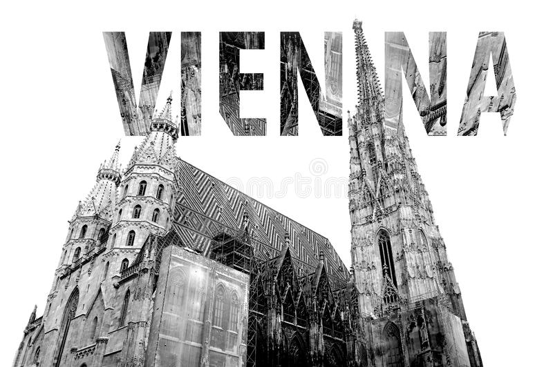 Vienna Lettering in Black and White in Austria. In Europe stock photo