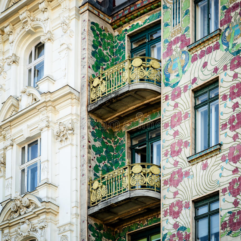 Vienna, Majolica Hause. The Majolica House Majolikahaus with its floral ornamentation near Naschmarkt in Vienna Austria; famous example of Jugendstil art nouveau royalty free stock photography