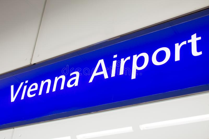 Vienna Airport sign stock images