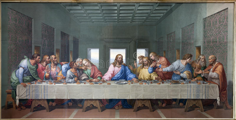 Vienna - Mosaic of Last supper of Jesus. By Giacomo Raffaelli from year 1816 as copy of Leonardo da Vinci work om in Minoriten church on January 15. 2013 in