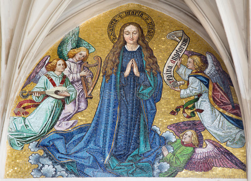 Vienna - Mosaic of Virgin Mary from main portal of gothic church Maria am Gestade