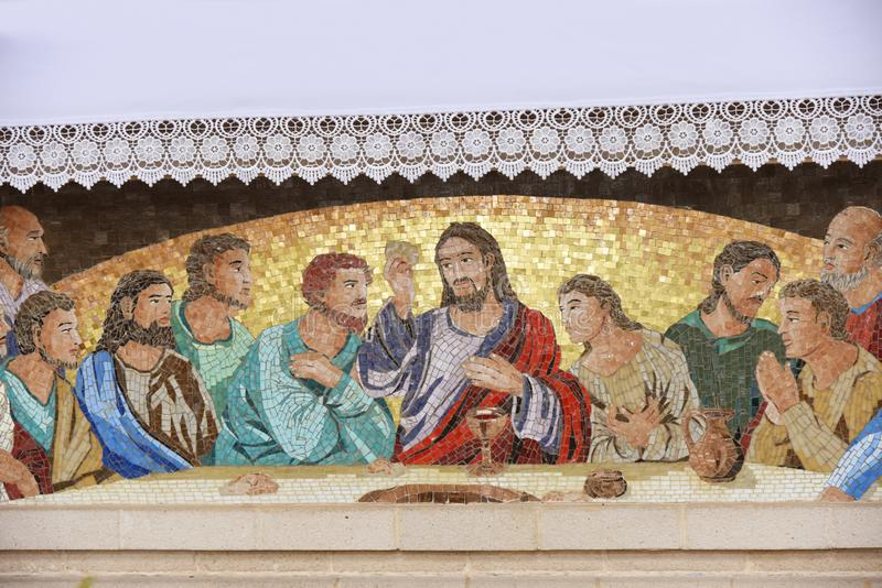 Vienna - mosaico di ultima cena di Gesù fotografia stock libera da diritti