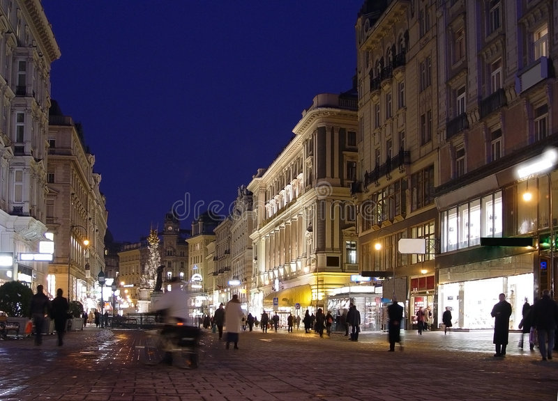 Vienna at night. The Viennese city centre at night