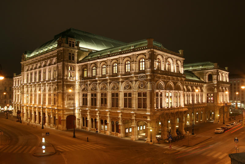 Vienna opera. State Opera House in Vienna by night royalty free stock photos