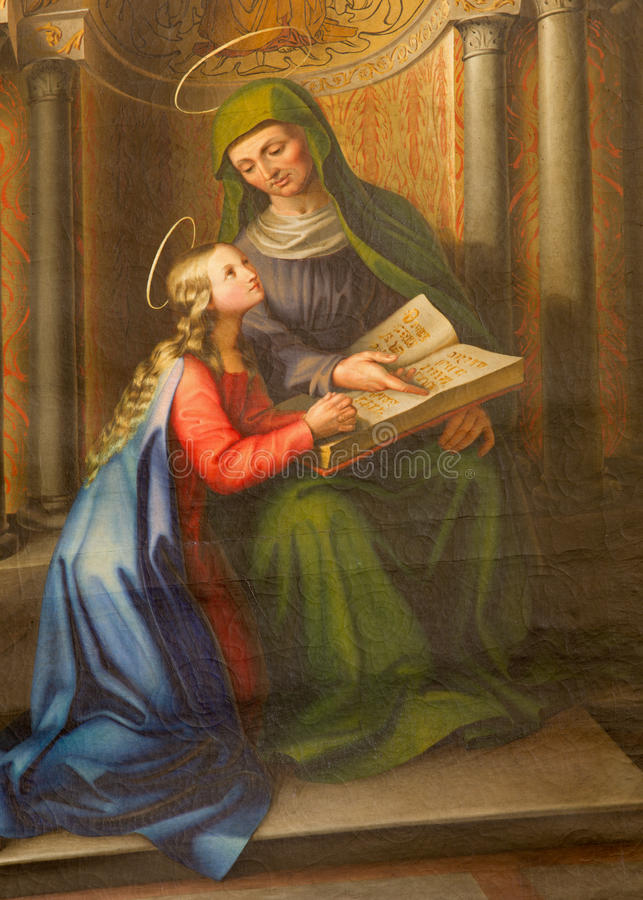 Vienna - Paint of Holy Ann and little Virgin Mary from 19. cent. in gothic church Maria am Gestade. On July 3, 2013 in Vienna royalty free stock photo