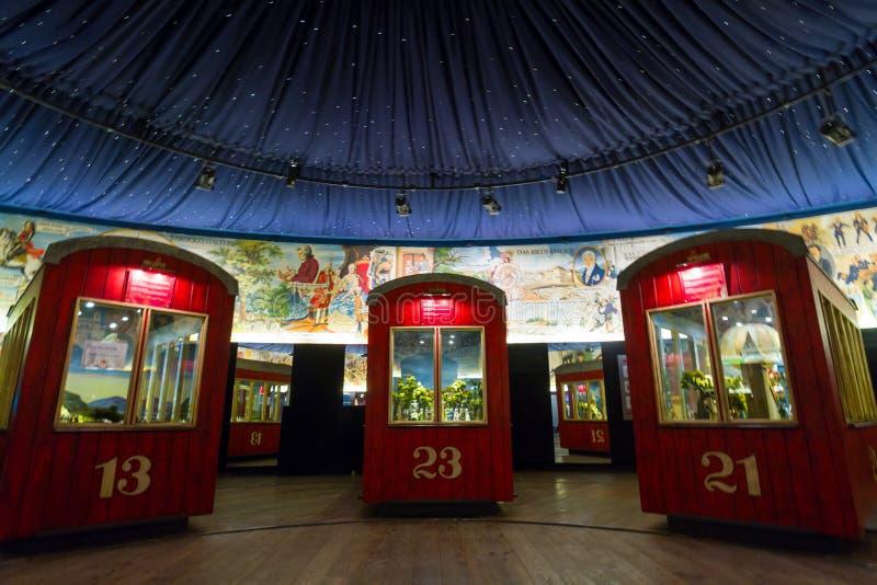 Vienna, parco di Prater Vecchio museo della ruota di ferris immagine stock