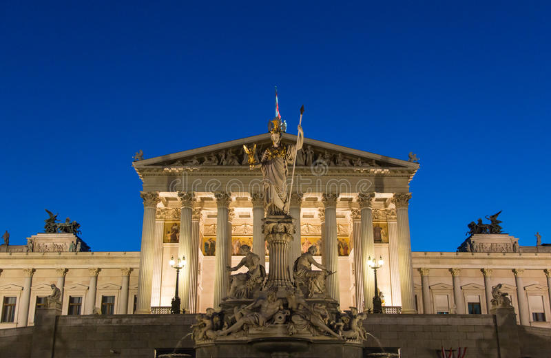 Vienna Parliament. Austrian Parliament building in Vienna, night scene royalty free stock photo