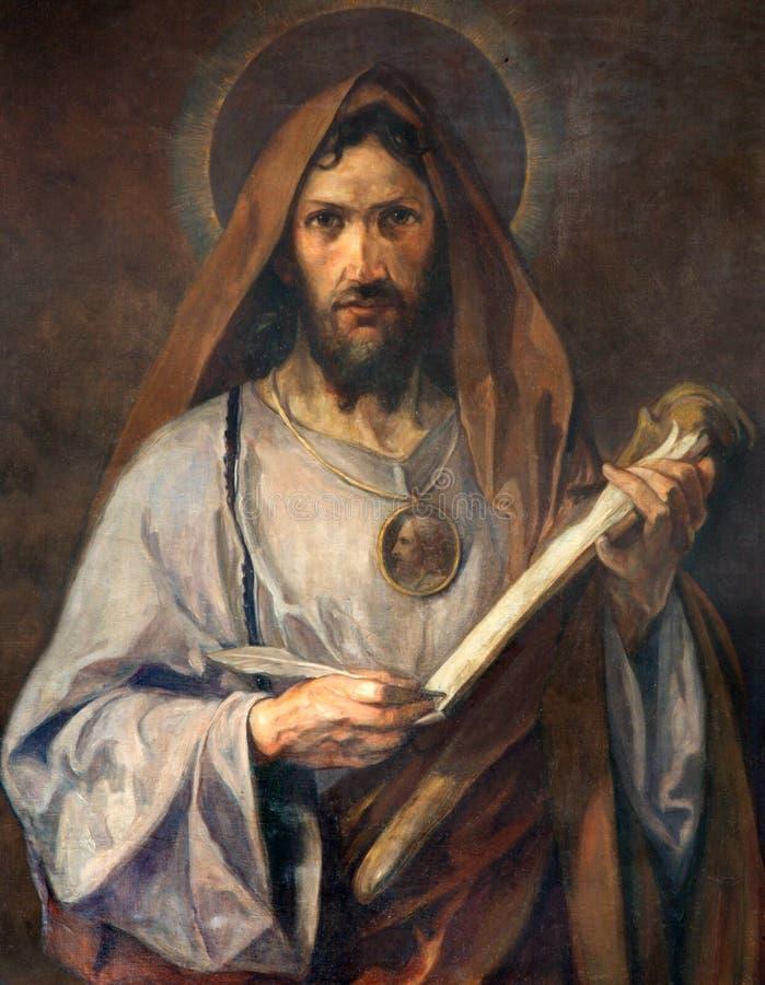 Vienna - pittura del san Jude Thaddeus dell'apostolo dalla cappella laterale della chiesa di Schottenkirche immagine stock libera da diritti