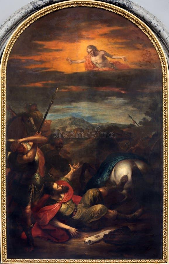 Vienna - pittura della conversione di St Paul. dal centesimo 19. nella chiesa di Augustinus o di Augustinerkirche fotografia stock libera da diritti