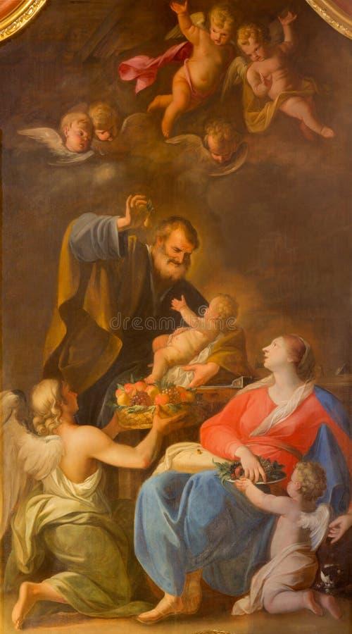 Vienna - pittura santa della famiglia dall'altare laterale nella chiesa barrocco delle gesuite immagini stock libere da diritti