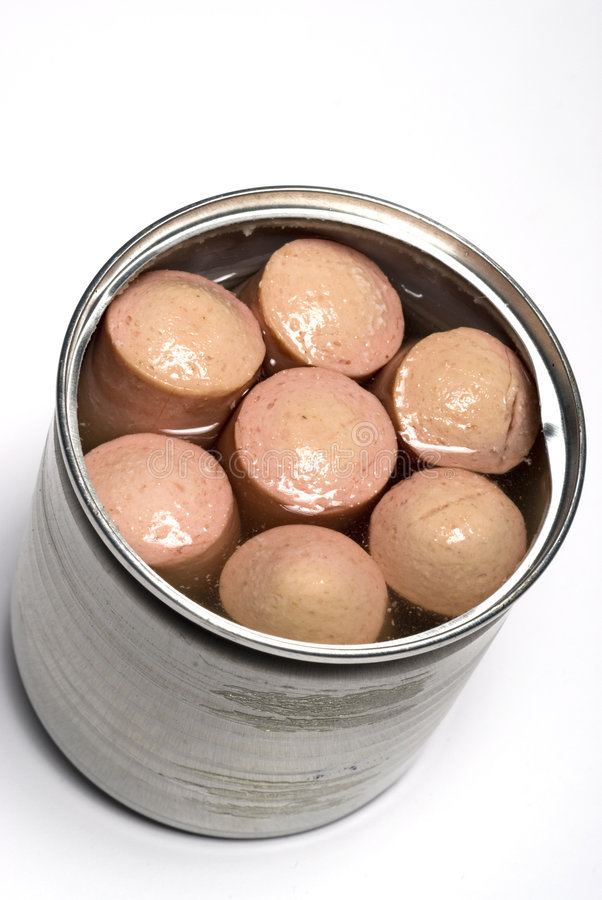 Vienna sausage in tin can. Vienna sausage links made with chicken beef and pork in chicken broth in tin can package stock photography