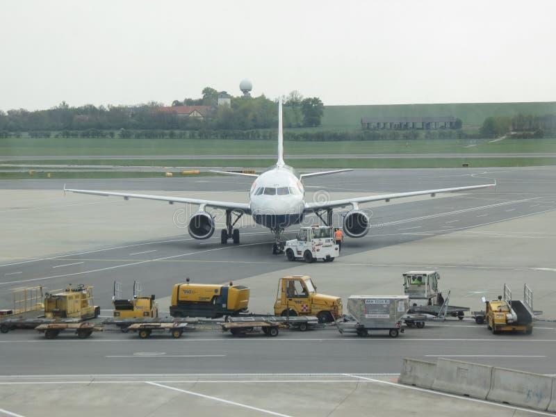 British Airways Airbus A320-232 taxiing in Vienna Schwechat. VIENNA SCHWECHAT, AUSTRIA - CIRCA APRIL 2017: British Airways Airbus A320-232 taxiing royalty free stock images