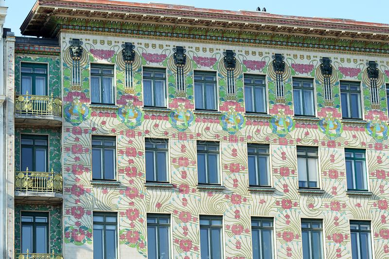 Vienna Secession art nouveau architecture: the Majolica House in the Linke Wienzeile, Vienna, Austria royalty free stock images