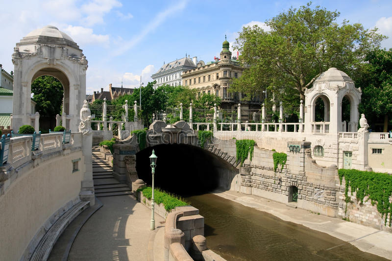 Vienna Stadtpark - Art Nouveau entrance. With Wien river superstructure royalty free stock photography