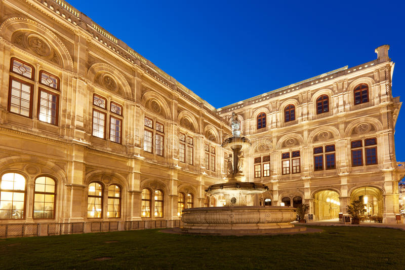 Vienna State Opera At Night Royalty Free Stock Images