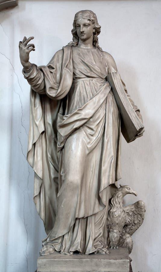 Vienna - statua di St John l'evangelista nella chiesa di Minoriten fotografia stock